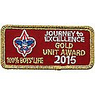 2015 Journey to Excellence 100% Boys' Life Unit Gold Award