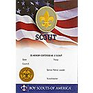 Boy Scout Rank Pocket Certificate