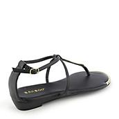 f27b88d40 Bamboo Lottie-51 black thong wedge sandal. PreviousNext