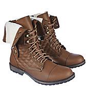 Women's Fold Down Fur Combat Boot 1075-13