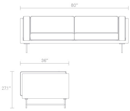 Bank 80in Sofa Dimensions