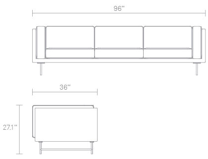 Bank 96in Sofa Dimensions