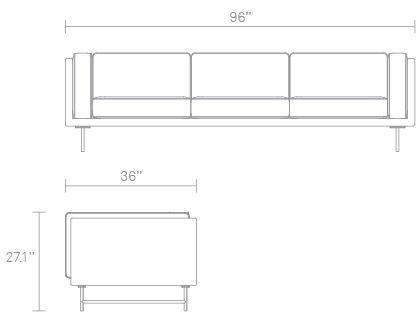 Bank 96in Sofa Dimensions