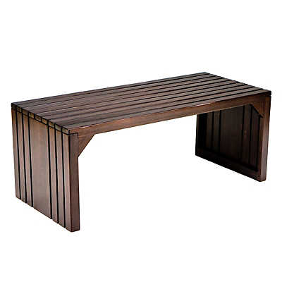 Picture of Hawthorne Slat Bench in Espresso