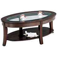 Picture of Oval Coffee Table with Inset Glass Top