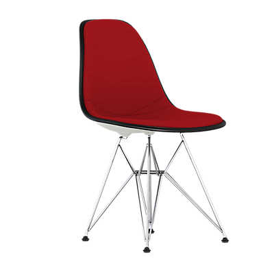 Picture of Eames Upholstered Molded Plastic Side Chair with Wire Base