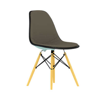Picture of Eames Upholstered Molded Plastic Side Chair with Dowel Leg Base