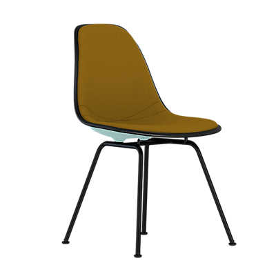 Picture of Eames Upholstered Molded Plastic Side Chair with 4-Leg Base