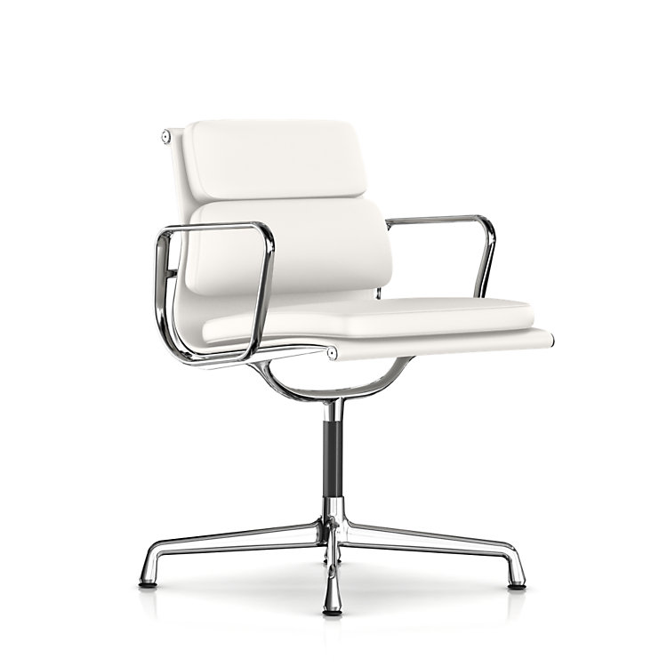 Brand New Herman Miller Eames Soft Pad Management Side Chair Ivory White Leat