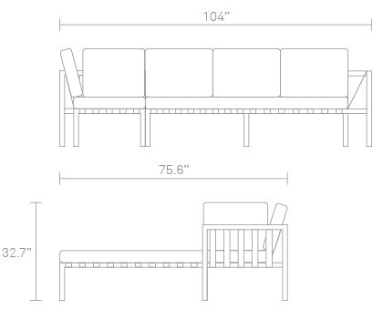 Jibe Outdoor Sectional Sofa Dimensions