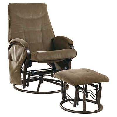 Picture of Chenille Swivel Rocker Recliner with Ottoman