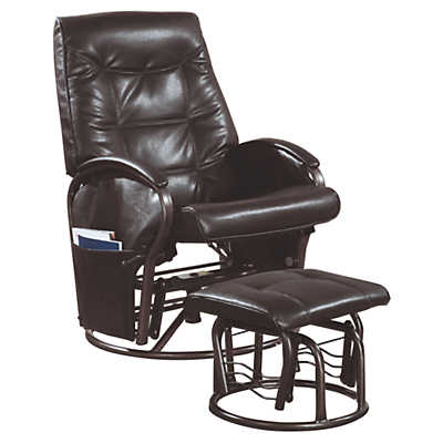 Picture of Brown Leather-Look Swivel Rocker Recliner with Ottoman