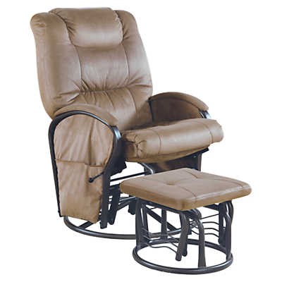 Picture of Tan Microfiber Swivel Rocker Recliner with Ottoman