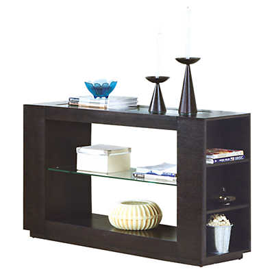 Cappuccino console table with glass insert for Kitchen table with glass insert