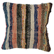 Picture of Omer Decorative Striped Over Dyed Raggy Pillow