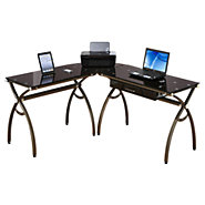 Picture of L-Shaped Curved Steel Desk in Bronze