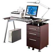 Picture of Glass Top Computer Desk with File Pedestal
