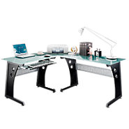 Picture of L-Shaped Computer Desk with Glass Top