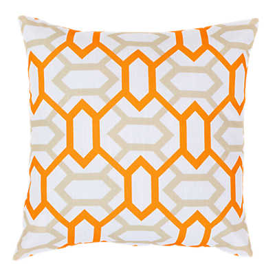 Picture of Geometry Pillow, Orange and Ivory