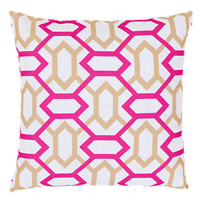 Picture of Geometry Pillow, Pink and Taupe
