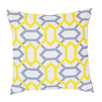 Picture of Geometry Pillow, Yellow and Slate