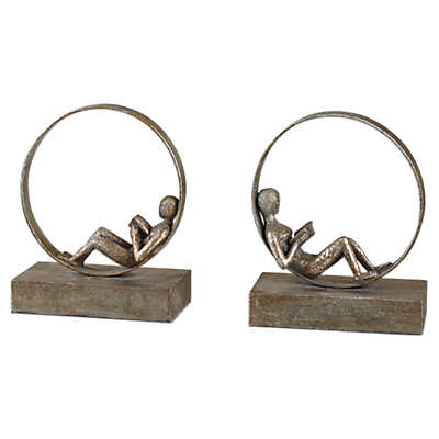 Picture of Lounging Reader Antique Bookends, Set of 2