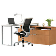 Picture of Voi L-Shaped Desk with Layering Shelf