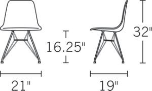 Eames Molded Wood Side Chair dimensions