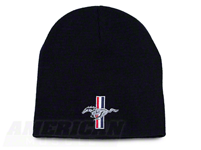 Tri-Bar Pony Knit Cap - Black