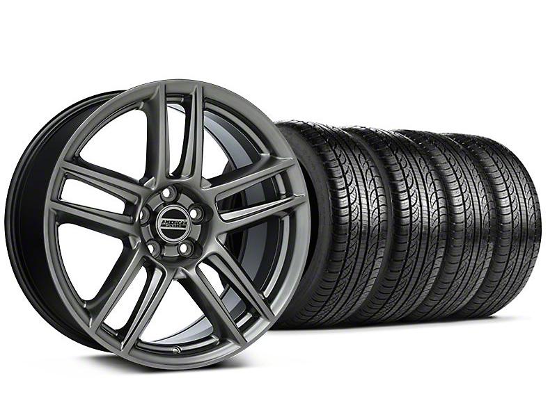 Staggered Laguna Seca Style Hyper Black Wheel & Pirelli Tire Kit - 19x9/10 (05-14 All)