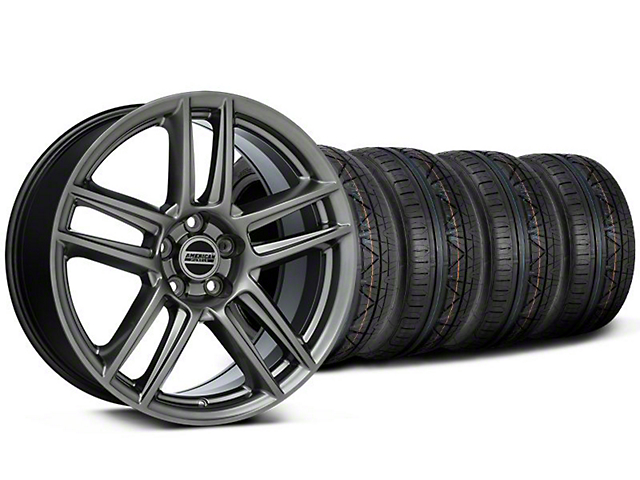 Staggered Laguna Seca Style Hyper Black Wheel & NITTO INVO Tire Kit - 19x9/10 (05-14 All)