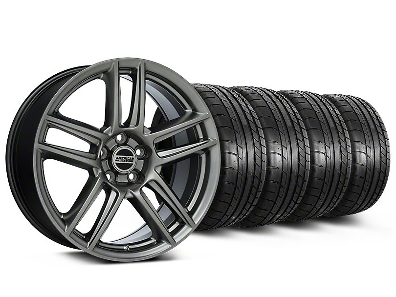 Staggered Laguna Seca Style Hyper Black Wheel & Mickey Thompson Tire Kit - 19x9/10 (05-14 All)