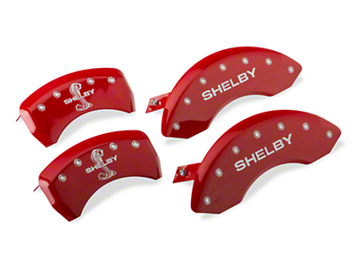 MGP Red Caliper Covers w/ Shelby Snake Logo - Front & Rear (11-14 GT, V6)