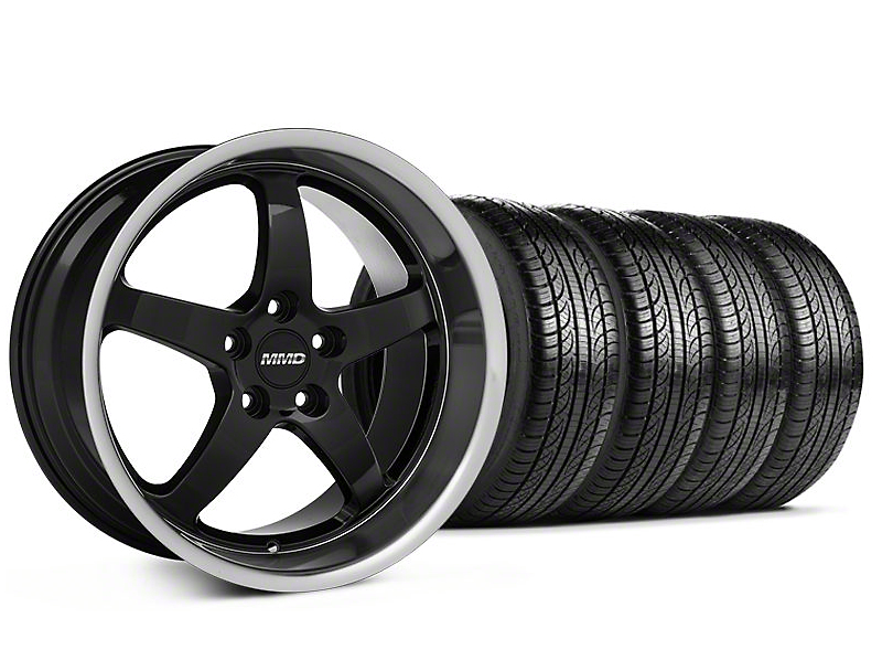 Staggered MMD Kage Black Wheel & Pirelli Tire Kit - 19x8.5/10 (05-14 GT,V6)