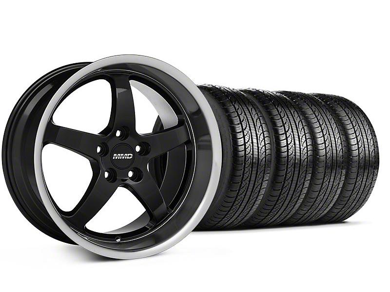 MMD Staggered Kage Black Wheel & Pirelli Tire Kit - 19x8.5/10 (05-14 GT,V6)