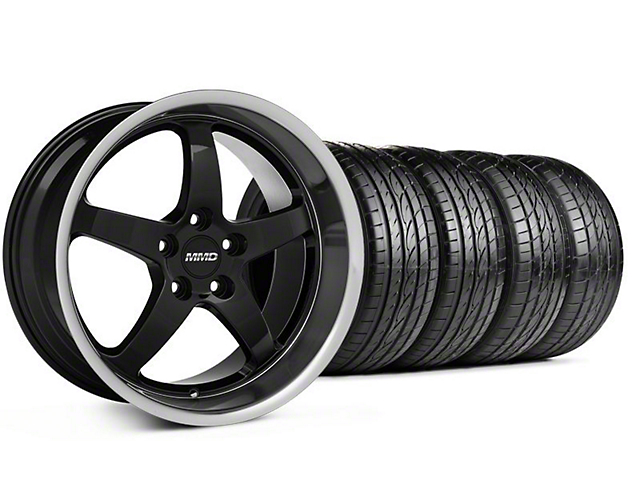 Staggered MMD Kage Black Wheel & Sumitomo Tire Kit - 19x8.5/10 (05-14 GT,V6)