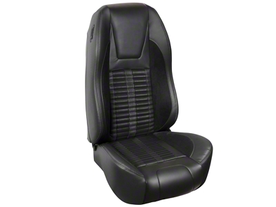 TMI Premium Sport R500 Upholstery & Foam Kit - Black Vinyl & Black Stripe/Stitch (87-93 All)