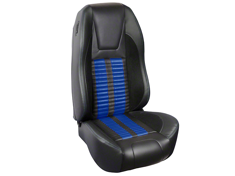 TMI Premium Sport R500 Upholstery & Foam Kit - Black Vinyl & Blue Stripe/Stitch (94-98 All)