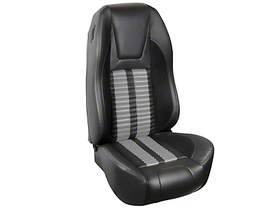 TMI Premium Sport R500 Upholstery & Foam Kit - Black Vinyl & Gray Stripe/Stitch (94-98 All)