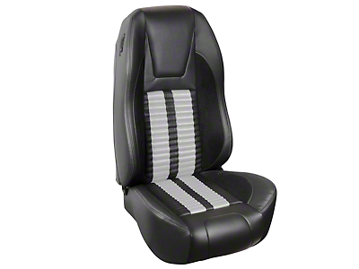 TMI Premium Sport R500 Upholstery & Foam Kit - Black Vinyl & White Stripe/Stitch (87-93 All)