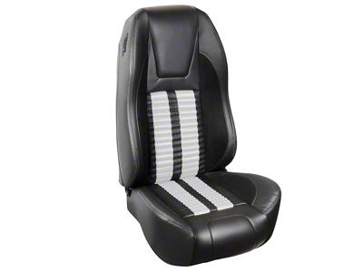 TMI Premium Sport R500 Upholstery & Foam Kit - Black Vinyl & White Stripe/Stitch (94-98 All)
