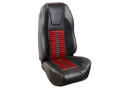 TMI Premium Sport R500 Upholstery & Foam Kit - Black Vinyl & Red Stripe/Stitch (94-98 All)