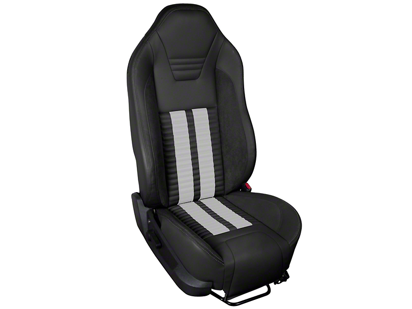 TMI Premium Sport R500 Upholstery & Foam Kit - Black Vinyl & White Stripe/Stitch (05-07 All)