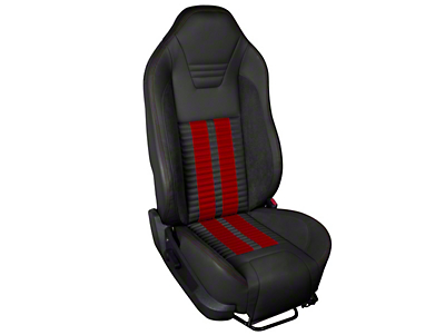 TMI Premium Sport R500 Upholstery & Foam Kit - Black Vinyl & Red Stripe/Stitch (05-07 All)