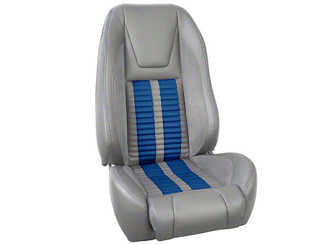 TMI Premium Sport R500 Upholstery & Foam Kit - Gray Vinyl & Blue Stripe/Stitch (87-93 All)
