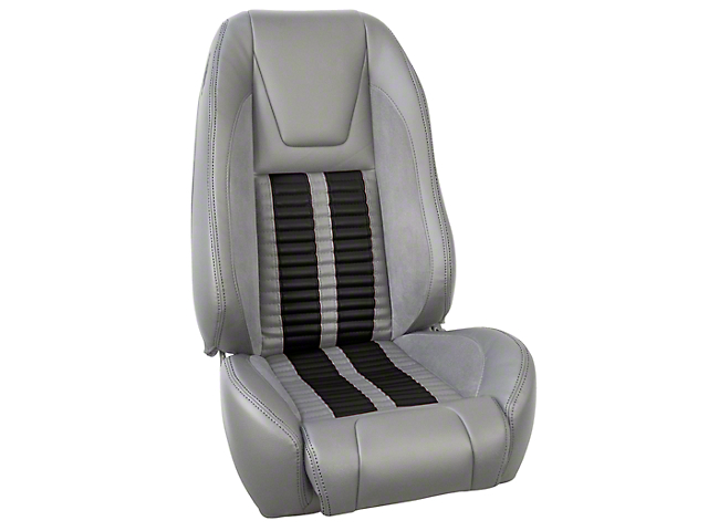 TMI Premium Sport R500 Upholstery & Foam Kit - Gray Vinyl & Black Stripe/Stitch (87-93 All)