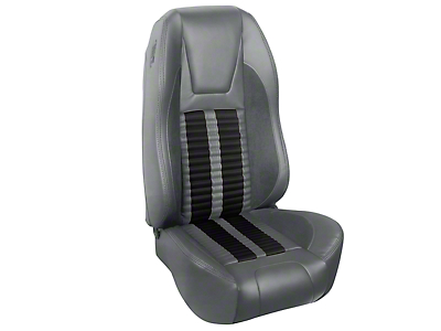 TMI Premium Sport R500 Upholstery & Foam Kit - Gray Vinyl & Black Stripe/Stitch (94-98 All)