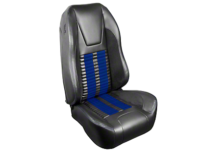 TMI Premium Sport R500 Upholstery & Foam Kit - Gray Vinyl & Blue Stripe/Stitch (99-04 All)