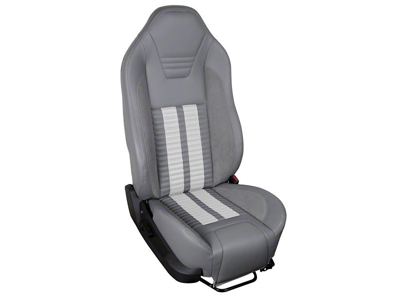 TMI Premium Sport R500 Upholstery & Foam Kit - Gray Vinyl & White Stripe/Stitch (05-07 All)