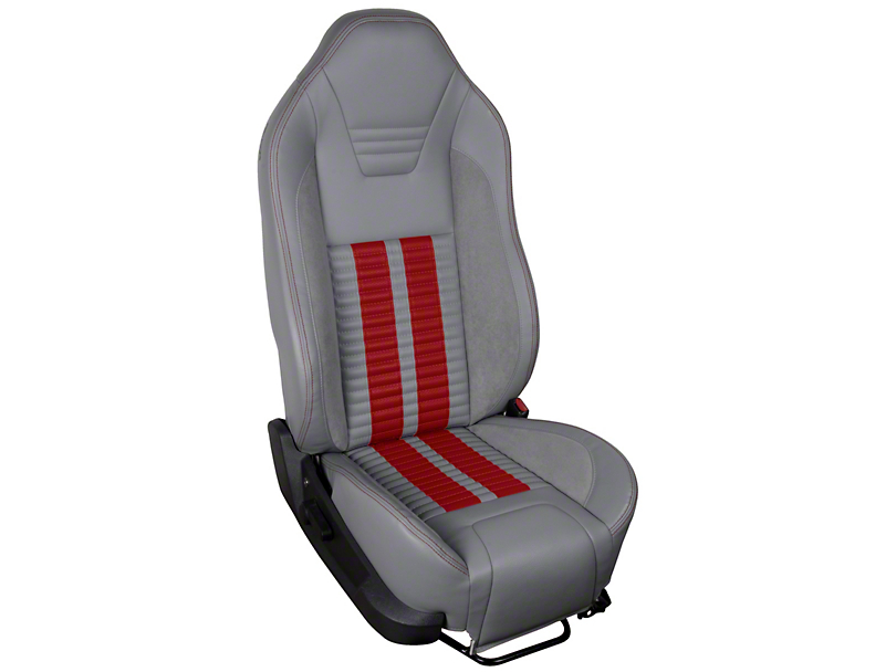 TMI Premium Sport R500 Upholstery & Foam Kit - Gray Vinyl & Red Stripe/Stitch (05-07 All)